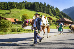 Transhumance event in Charmey Royalty Free Stock Photo