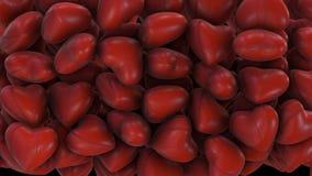 Transição bonita de uma pluralidade de coração vermelho com canal alfa ilustração royalty free