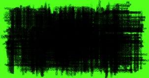 A transição desenhado à mão dos garranchos, as garatujas e os efeitos do esboço com cor preta escrevem no fundo de tela do verde