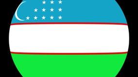 Transição 4K da bandeira de Usbequistão video estoque