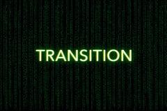 Transição, palavra-chave do scrum, em um fundo verde da matriz fotos de stock royalty free