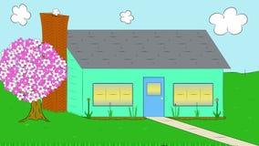 Transición de la Casa-Invierno-a-primavera Derretimientos de la nieve historieta animado libre illustration
