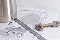 Transición del acero inoxidable y de las herramientas para la representación visual y el measuri Foto de archivo libre de regalías