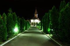 Transilvania Румынии Oradea монастыря в ноче Стоковые Изображения