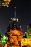 Transilvania van kerkbaile Felix Romania Oradea in de nacht royalty-vrije stock foto's