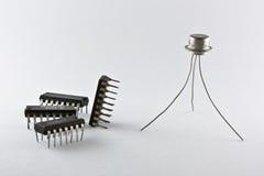 Transistor en spaanders Stock Fotografie
