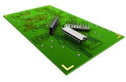 Transistor na placa verde em um fundo branco Fotos de Stock