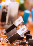 Transistors capacitors resistor Royalty Free Stock Images