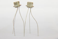 Transistors. Two transistors on a white background retro electronics last century Royalty Free Stock Photo