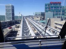 Transit train between ternimals. View of transit train way between terminals in Toronto Pearson International Airport on sunny day in spring. Toronto, Ontario Royalty Free Stock Photos