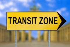Transit zone traffic sign with blurred Berlin background Stock Photography