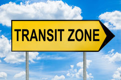 Transit zone traffic sign with cloudy blue background Royalty Free Stock Image