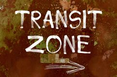 Transit zone written over old painted wall Royalty Free Stock Photography