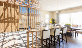 Transition of Beautiful New Home Kitchen From Framing To Completion. royalty free stock photos