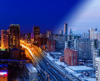 The transition from day to night metropolis winter Russia. Transition from day to night metropolis winter Russia stock photos