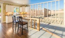 Transition de belle nouvelle cuisine à la maison de l'encadrement à Complet images stock