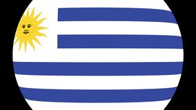 Transition 4K de drapeau de l'Uruguay banque de vidéos