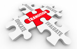 Transition Leading Change Execute Evaluate Puzzle Pieces. 3d Illustration Royalty Free Stock Images