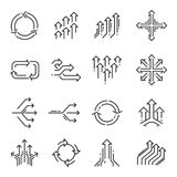 Transition line icon set stock illustration