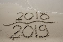 2018/2019 transition - New years eve royalty free stock photo