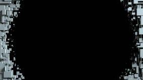 Transition noire et blanche de chiffon d'écran de cubes Fond noir Images libres de droits