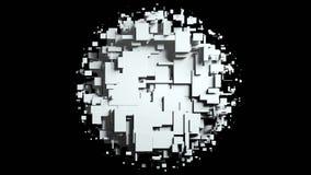 Transition noire et blanche de chiffon d'écran de cubes Fond noir Photographie stock
