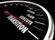 Transition Vision Planning Execution Speedometer Stock Photo