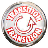 Transition Word White Button Icon Change Process Cycle. Transition word on a white button or icon to illustrate change or a process cycle for evolving or Royalty Free Stock Images