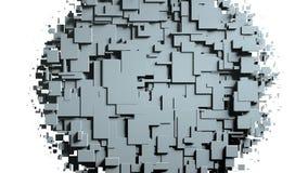Transizione in bianco e nero della strofinata dello schermo dei cubi Priorità bassa bianca Fotografie Stock Libere da Diritti