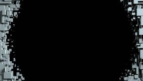 Transizione in bianco e nero della strofinata dello schermo dei cubi Priorità bassa nera Immagini Stock Libere da Diritti