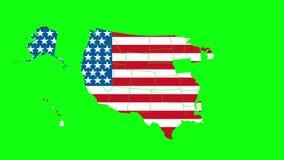 Transizione verde dello schermo con i contorni della mappa di U.S.A. la transizione nei progetti si è riferita alla geografia, al royalty illustrazione gratis