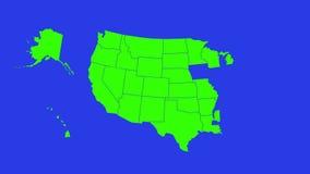 Transizione verde dello schermo con i contorni della mappa di U.S.A. la transizione nei progetti si è riferita alla geografia, al illustrazione vettoriale