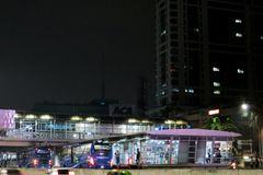 TransJakarta Bus Shelter. In downtown of Jakarta, Indonesia Stock Images