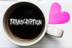 Transkription för ordhandstiltext Affärsidéen för skriftlig eller utskrivaven process av att kopiera ord smsar stämma rånar kaffe arkivbild