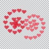 Translúcido rojo de los corazones dispuesto bajo la forma de números 69 Fondo del inspector Día del `s de la tarjeta del día de S Fotografía de archivo