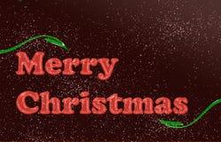Translúcido vidrioso rojo de la Feliz Navidad con las hojas verdes Imágenes de archivo libres de regalías