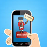 Translate app concept. Hand holding a smart phone with Russian man translation software application concept. Vector illustration layered for easy editing Stock Photos