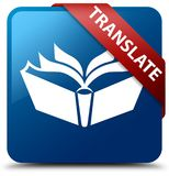 Translate blue square button red ribbon in corner Stock Photography
