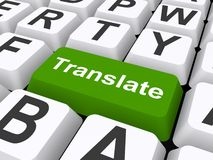 Translate button. An illustration of a keyboard with a big button labeled as translate Royalty Free Stock Images