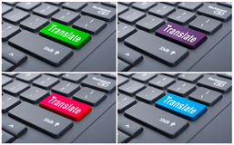 Translate computer key on laptop. As electronic language translator concept Stock Photo