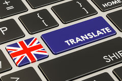 Translate concept on keyboard with British flag, 3D rendering Stock Photography