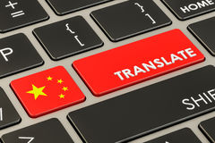 Translate concept on keyboard with Chinese flag, 3D rendering Stock Photo
