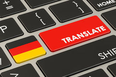Translate concept on keyboard with German flag, 3D rendering Stock Images