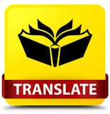 Translate yellow square button red ribbon in middle Stock Photo