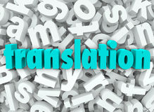 Translation 3d Letter Background Interpret Language Meaning. The word Translation on a background of 3d letters to illustrate translating, decoding, deciphering Royalty Free Stock Image