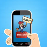 Translation app concept. Hand holding a smart phone with French man and sign translation software application. Vector illustration layered for easy editing Stock Photo
