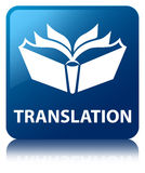 Translation blue square button Royalty Free Stock Images