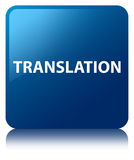 Translation blue square button Royalty Free Stock Photography
