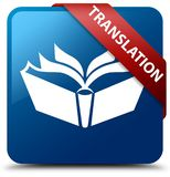 Translation blue square button red ribbon in corner Royalty Free Stock Images