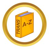 Translation book vector icon. In golden circle, cartoon style  on white background Royalty Free Stock Images